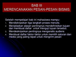 BAB III MERENCANAKAN  PESAN -PESAN  BISNIS