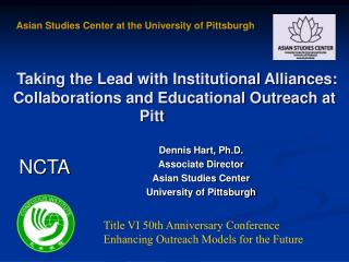 Taking the Lead with Institutional Alliances: Collaborations and Educational Outreach at Pitt