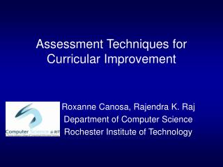 Assessment Techniques for Curricular Improvement