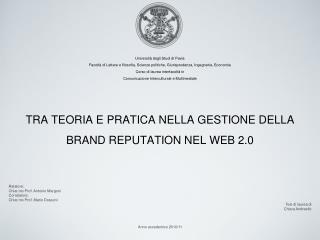 Relatore:   Chiar.mo Prof. Antonio Margoni Correlatore:  Chiar.mo Prof. Mario Dossoni