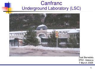 Canfranc  Underground Laboratory (LSC)