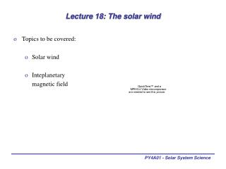 Lecture 18: The solar wind