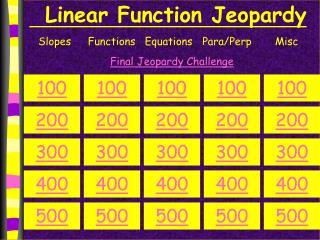 Linear Function Jeopardy