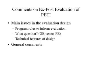 Comments on Ex-Post Evaluation of PETI