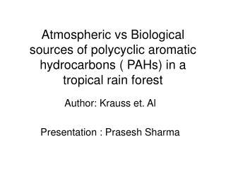 Author: Krauss et. Al Presentation : Prasesh Sharma