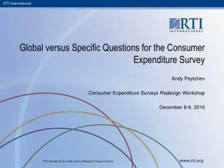 Global versus Specific Questions for the Consumer Expenditure Survey