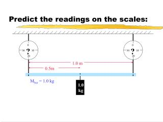 Predict the readings on the scales: