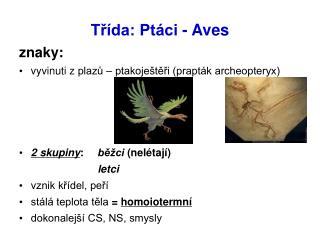 Třída: Ptáci - Aves