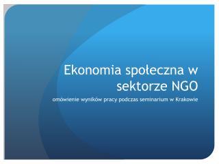 Ekonomia społeczna w sektorze NGO