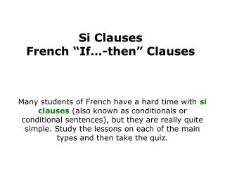 "Si Clauses French ""If…-then"" Clauses"