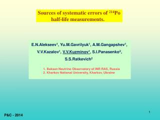 Sources of systematic errors of  214 Po            half-life measurements.