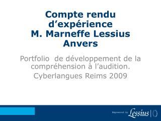 Compte rendu d'expérience M. Marneffe Lessius  Anvers