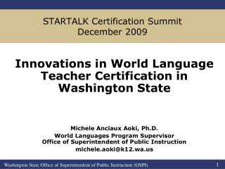 STARTALK Certification Summit December 2009