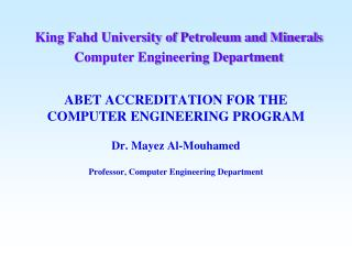 King Fahd University of Petroleum and Minerals Computer Engineering Department