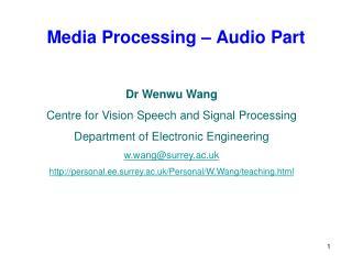 Media Processing – Audio Part