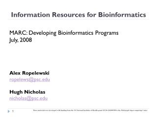 Information Resources for Bioinformatics