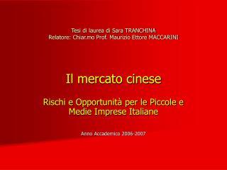 Rischi e Opportunit� per le Piccole e Medie Imprese Italiane Anno Accademico 2006-2007