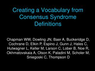 Creating a Vocabulary from Consensus Syndrome Definitions
