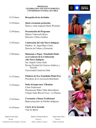 PROGRAMA CELEBRACION AÑO NUEVO INDIGENA UNIVERSIDAD CENTRAL DE CHILE