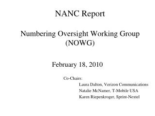 NANC Report   Numbering Oversight Working Group NOWG