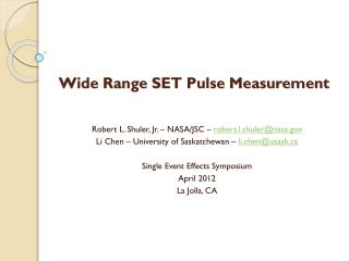 Wide Range SET Pulse Measurement