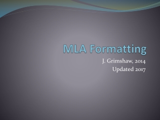 MLA Form and Citation update 2009
