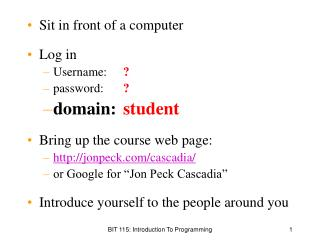 Sit in front of a computer Log in Username: 	 ? password:  	 ? domain: 	 student