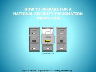 HOW TO PREPARE FOR A  NATIONAL SECURITY INFORMATION   INSPECTION