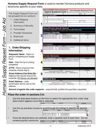 Humana Supply Request Form – Job Aid