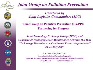 Joint Group on Pollution Prevention Chartered by  Joint Logistics Commanders (JLC)