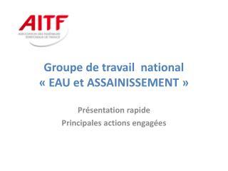 Groupe de travail  national  « EAU et ASSAINISSEMENT»