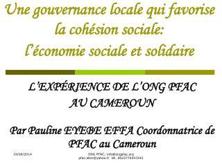 Une gouvernance locale qui favorise la cohésion sociale: l'économie sociale et solidaire