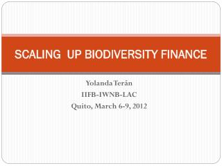 SCALING  UP BIODIVERSITY FINANCE