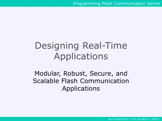 Designing Real-Time Applications