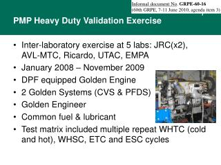 PMP Heavy Duty Validation Exercise