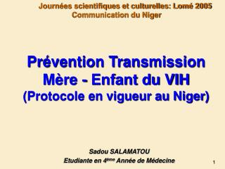 Pr vention Transmission M re - Enfant du VIH Protocole en vigueur au Niger