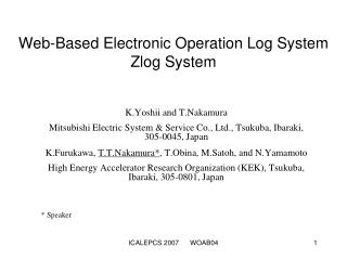 Web-Based Electronic Operation Log System  Zlog System