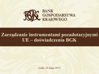 Zarządzanie instrumentami pozadotacyjnymi UE – doświadczenia BGK