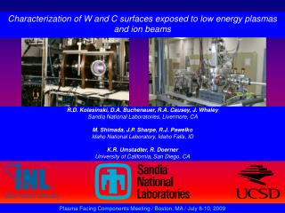 Characterization of W and C surfaces exposed to low energy plasmas and ion beams