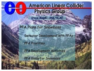 PFA Plans for Snowmass Detector Development with PFAs PFA Priorities PFA Development Activities