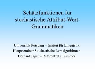 Schätzfunktionen für stochastische Attribut-Wert-Grammatiken