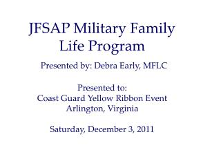 Military Family Life  Consultants (MLFCs)