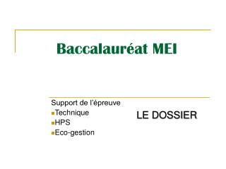 Baccalaur�at MEI
