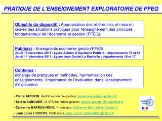 PRATIQUE DE L'ENSEIGNEMENT EXPLORATOIRE DE PFEG