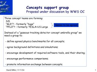 Concepts support group Proposal under discussion by WWS OC