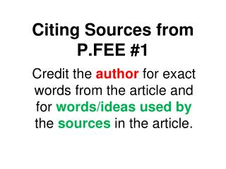 Citing Sources from P.FEE #1