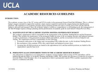 ACADEMIC RESOURCES GUIDELINES