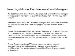 New Regulation of Brazilian Investment Managers