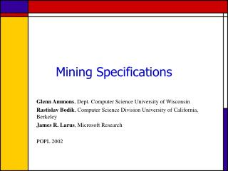 Mining Specifications