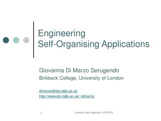 Engineering  Self- Organising  Applications